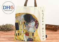 Personalized 100% Cotton Canvas Tote Bags Red Body Yellow Handle High Convenience